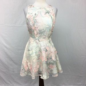 One Clothing Ivory Lace Floral Print Dress